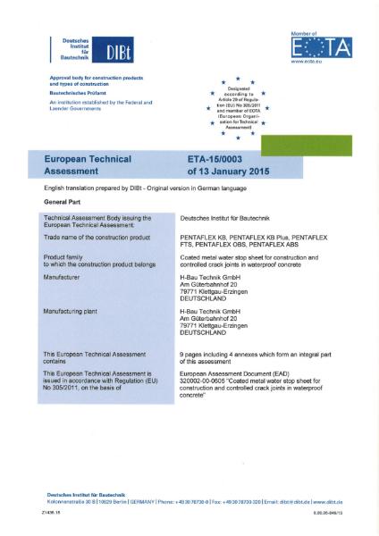 European Technical Assessment For PENTAFLEX - ETA-15/0003