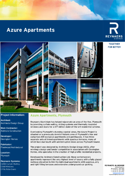 Case Study: Azure Apartments, featuring CS 68 aluminium windows
