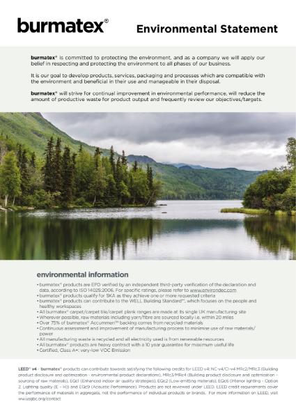 Burmatex sustainability and environmental statement