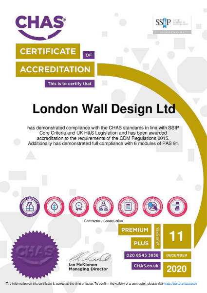 London Wall CHAS Certificate