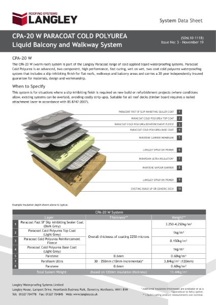 CPA-20 W Paracoat Cold Polyurea Liquid Balcony and Walkway System Data Sheet