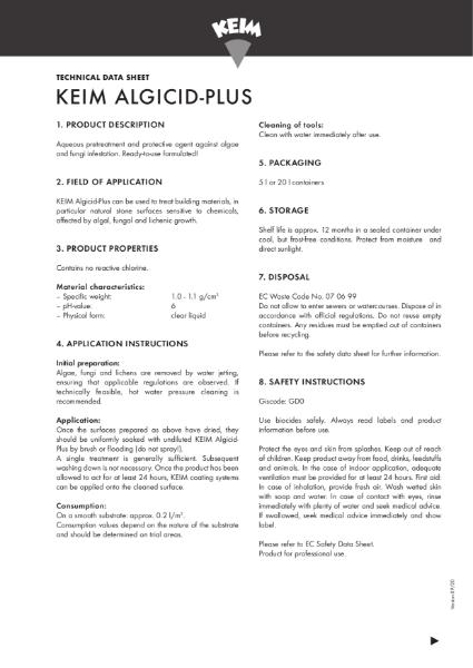 Keim Algicid Technical Data Sheet