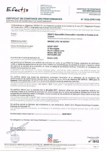 EN 12101 Test Certificate