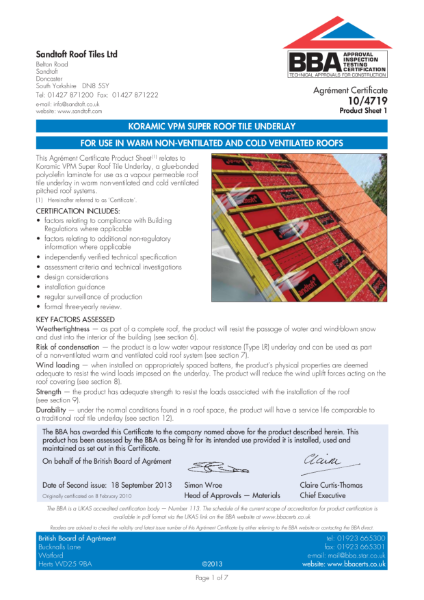 10/4719 Koramic VPM Super Roof Tile Underlay
