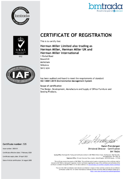 ISO 14000 Herman Miller Certification