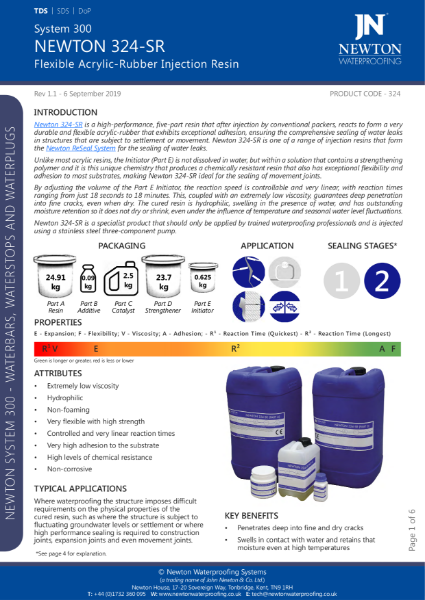 Newton 324-SR Injection Resin Data Sheet