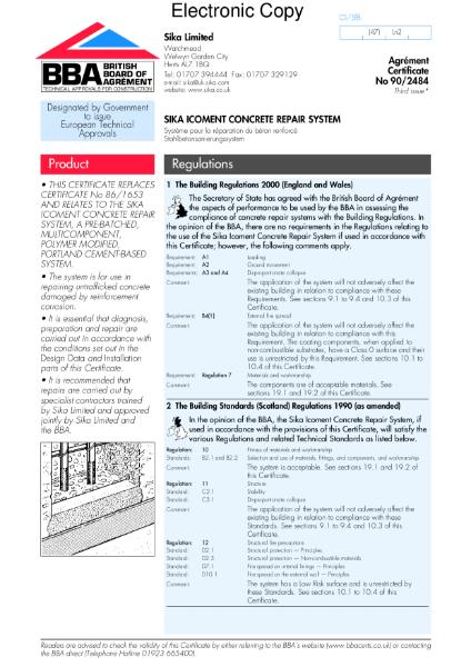 Sika Icoment concrete repair system