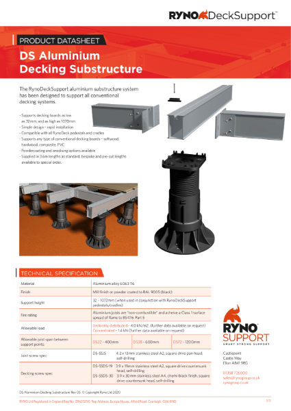 Datasheet - Aluminium Decking Substructure