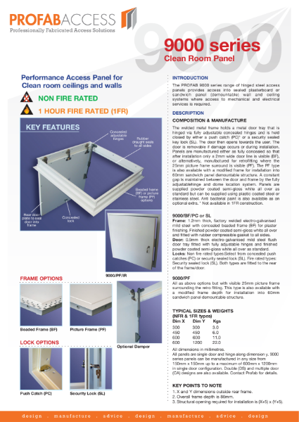 Profab 9000 Series Access Panel for Clean Room