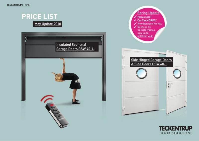 Teckentrup's CarTeck Insulated Sectional Garage Door & Side Hinged Garage Door Price List 2018