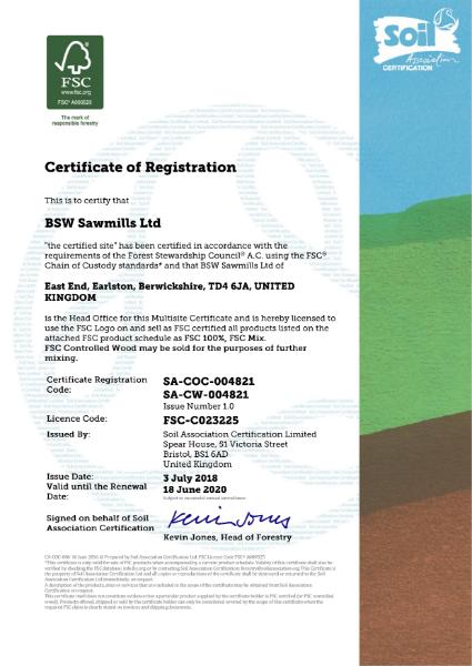 FSC Certificate BSW Sawmills Ltd