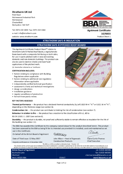 10/4803 Xtratherm Safe-R Pitched Roof Board (Product Sheet 1)
