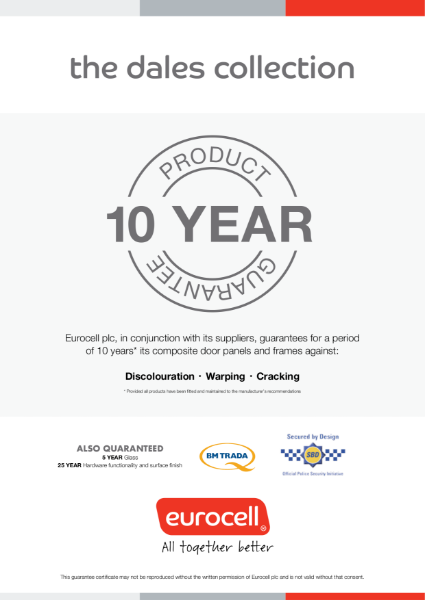 The Dales Collection 10 Year Guarantee Certificate