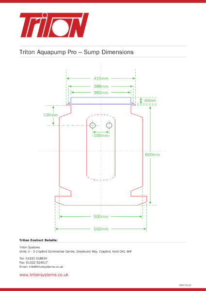 Triton Systems Sump Pump Dimensions (for use in structural waterproofing)