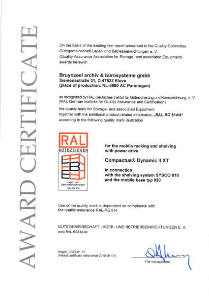 RAL certificate - Compactus® Dynamic II XT