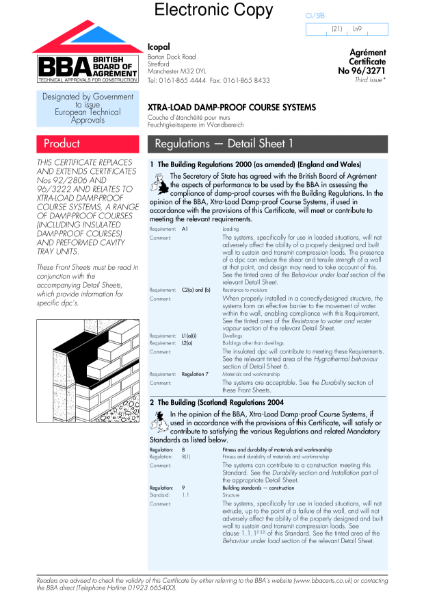 96/3271 Xtra-Load damp-proof course systems