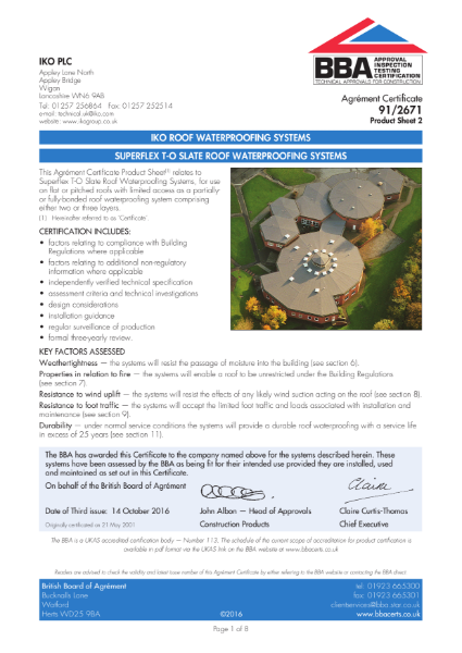 91/2671_2 Superflex T-O Slate Roof Waterproofing Systems