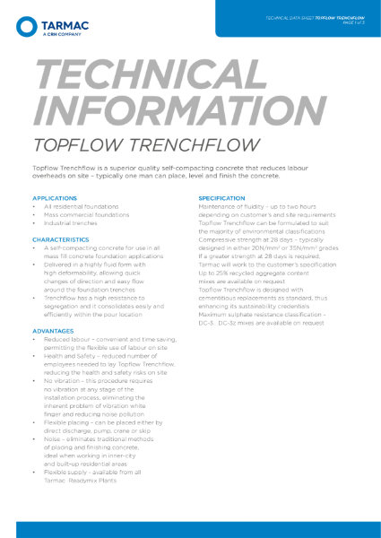 Topflow Trenchflow self compacting concrete for foundation applications