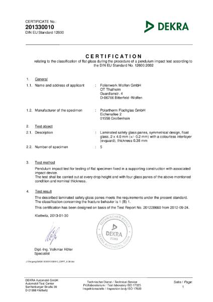 DIN EN 12600 (Pendulum) for evguard® laminating interlayer film