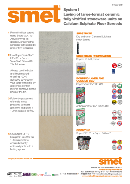 TDS SMET - Tiling Onto Calcium Sulphate Floor Screed | System I
