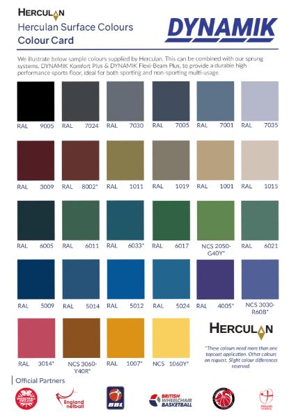 DYNAMIK - PU Sports Flooring Colours