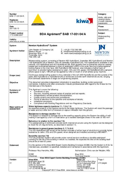 Newton 108 Hydrobond-LM BDA Certificate