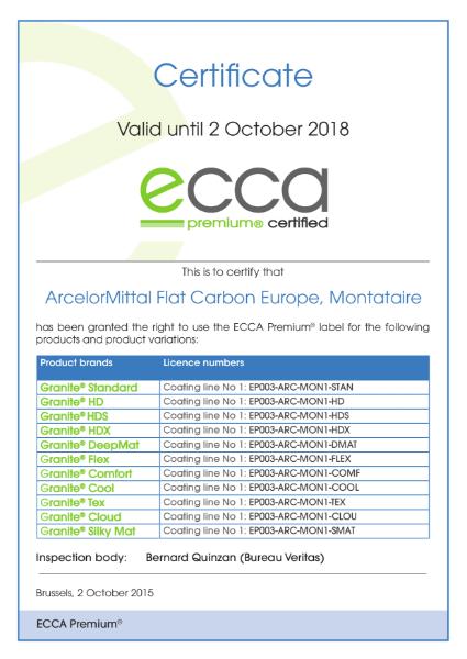 ECCA Premium - Certificate ArcelorMittal FCE Montataire