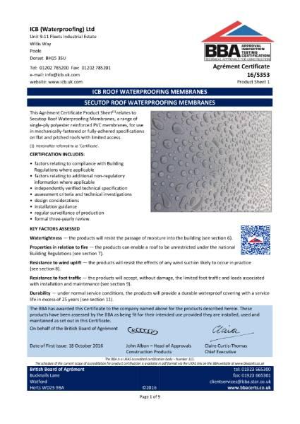 16/5353 SECUTOP ROOF WATERPROOFING MEMBRANES