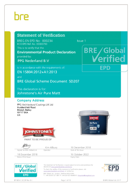 Environmental Product Declaration (EPD) : BREG EN EPD No.: 000234