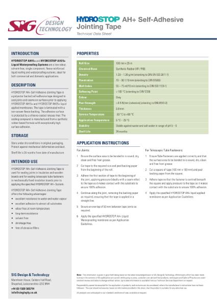 Hydrostop AH+ Liquid Waterproofing Jointing Tape Datasheet
