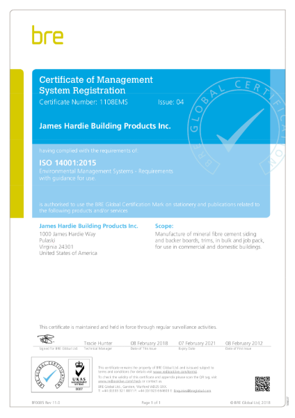 ISO 14001 Certificate James Hardie Pulaski