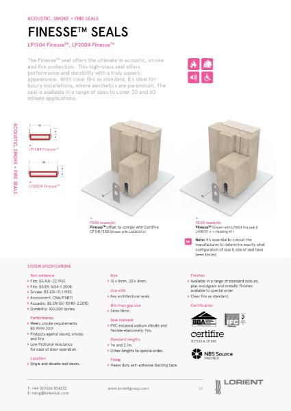 Acoustic, smoke and fire door seals - datasheets