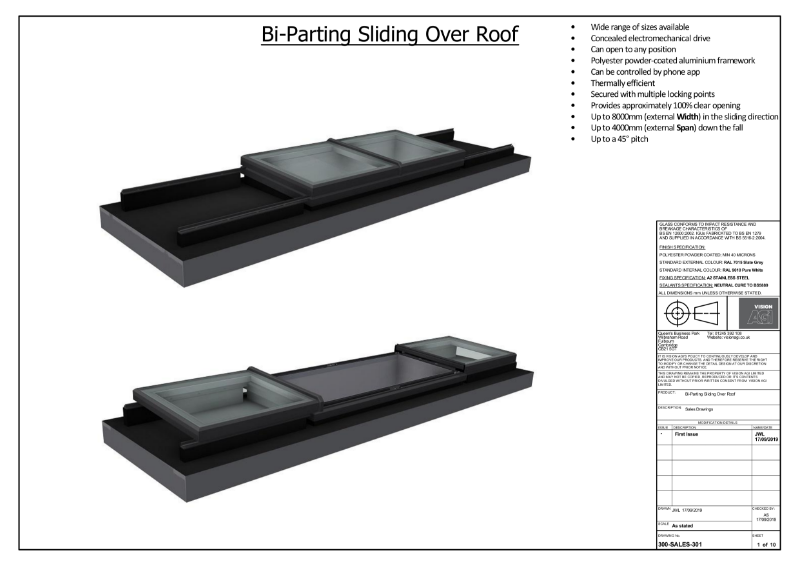 Bi-Parting SlideOver Roof Skylight