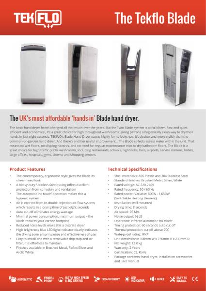 Tekflo Blade Hand Dryer - Technical Specifications