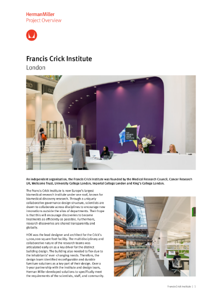 Case Study - Francis Crick Institute - Herman Miller