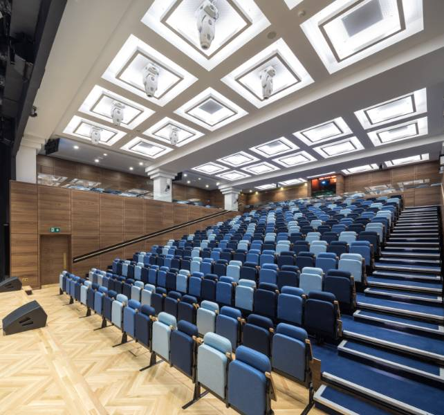 Bush House Conference Facility, Kings College London - high specification retractable auditorium