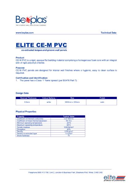Beplas Elite CE-M, Hygienic Wall Lining