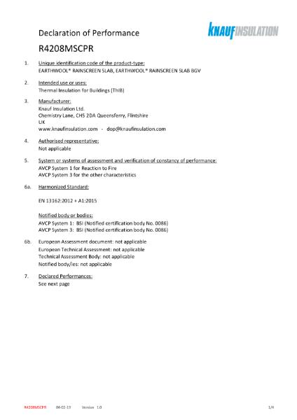Knauf Insulation RainScreen Slab Declaration of Performance