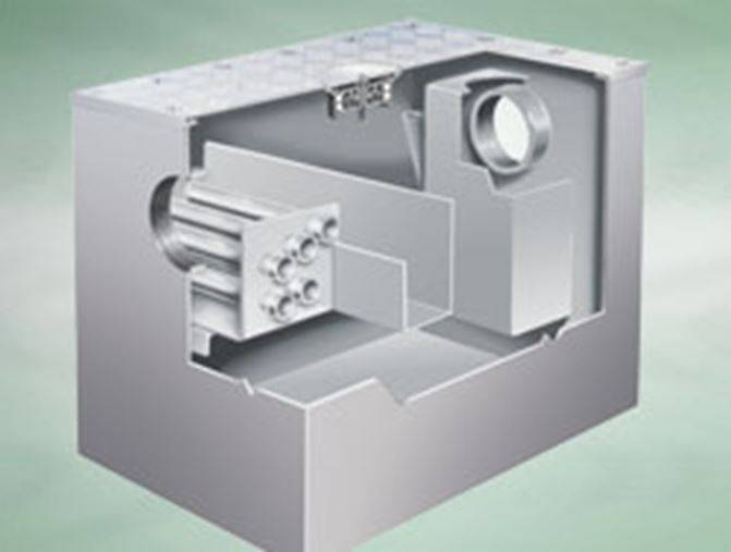 Actimatic grease converter, fully recessed at intermediate floor level