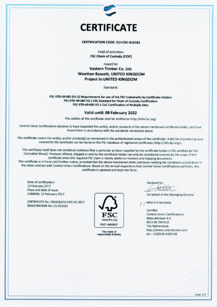 FSC, PEFC and GIB certificates