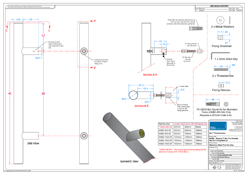 BLU™ - HAB2 Inline Round 'T' Bar Pull Handle  Secret Fix