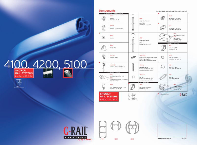 G-Rail shower rail systems - 4100, 4200, 5100