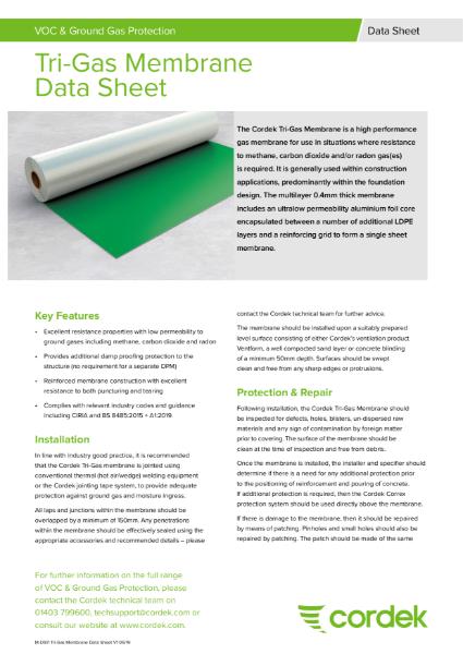 Cordek Tri-Gas Membrane Data Sheet