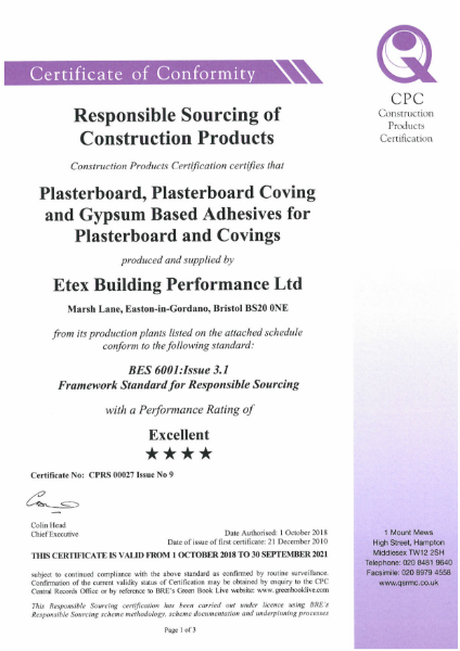 Etex Certificate of Responsible Sourcing of construction projects - Siniat