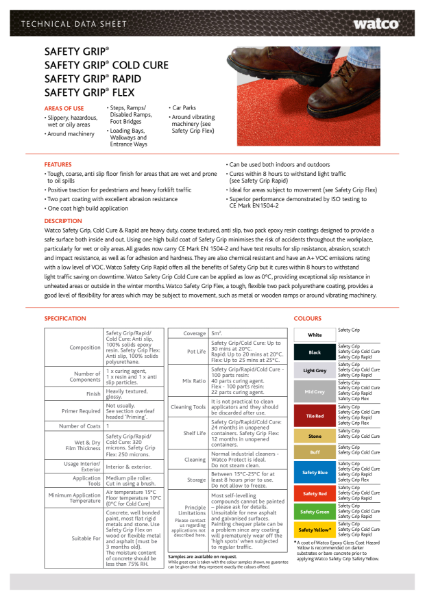 Data Sheet: Safety Grip Range
