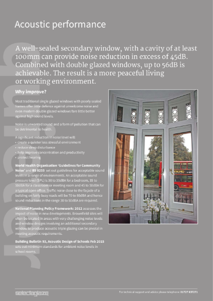 Acoustic insulation secondary glazing - noise reduction for Listed buildings and new builds