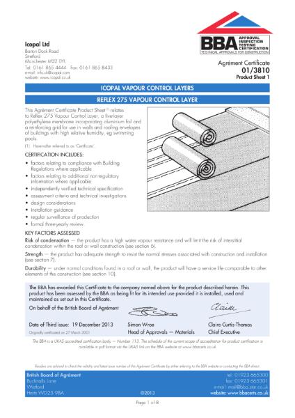 01/3810 Reflex 275 vapour control layer