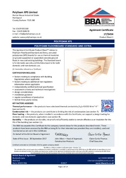 Polyfoam Floorboard BBA Certificate
