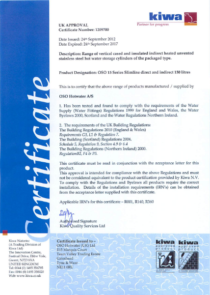 Kiwa Certificate 1209700