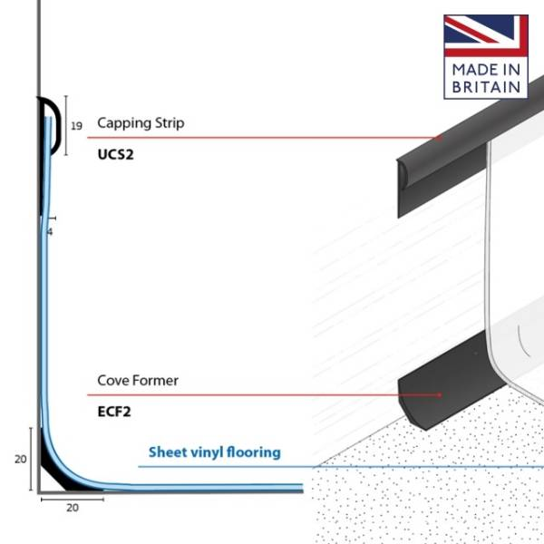 Mini Cove Former and Capping Strip (Capping Seals) for Resilient Floorcovering